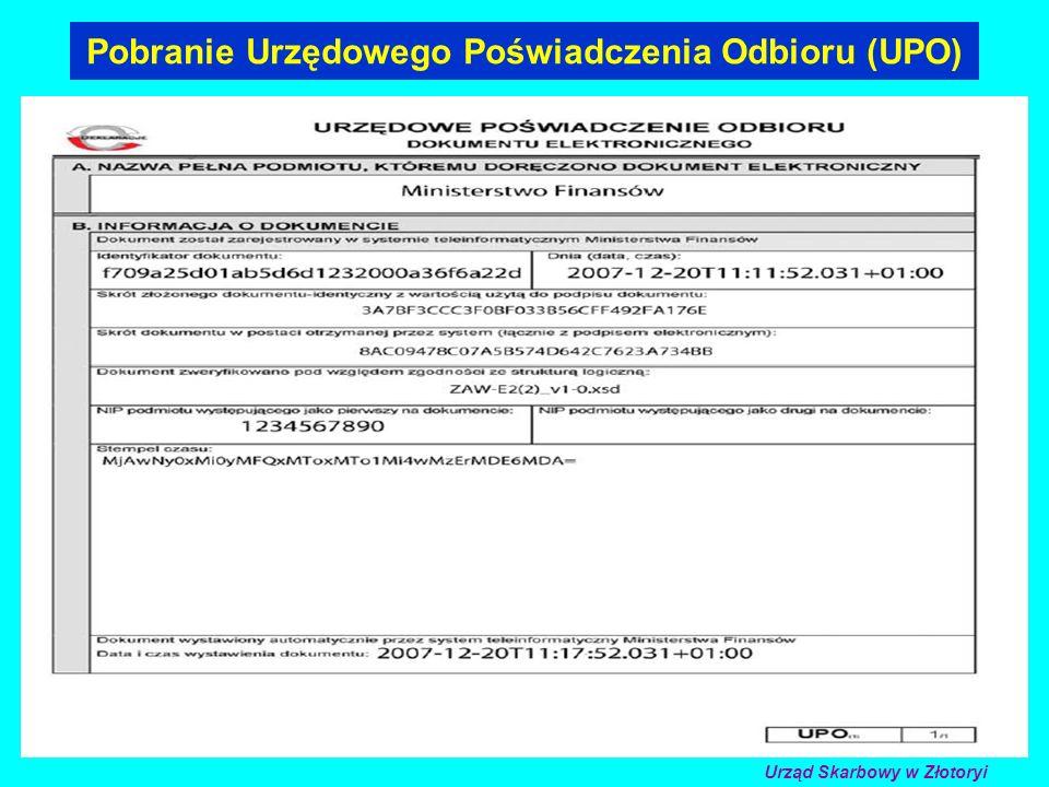 Pobranie Urzędowego Poświadczenia Odbioru (UPO) Urząd Skarbowy w Złotoryi