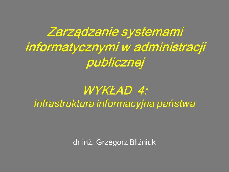 Zarządzanie systemami informatycznymi w administracji publicznej WYKŁAD 4: Infrastruktura informacyjna państwa dr inż. Grzegorz Bliźniuk