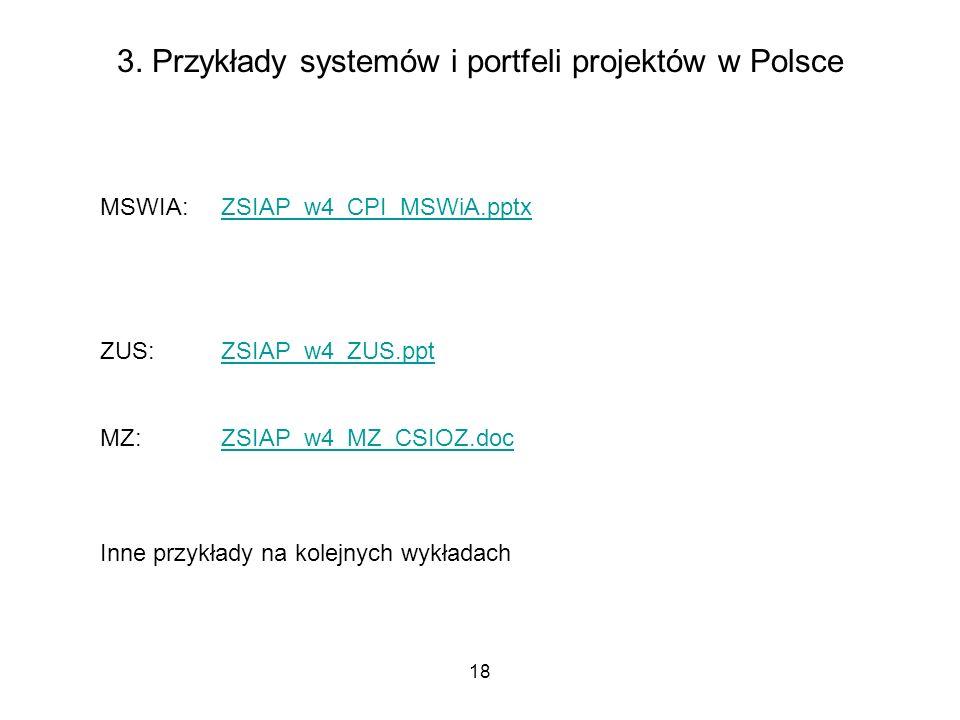 18 3. Przykłady systemów i portfeli projektów w Polsce MSWIA: ZSIAP_w4_CPI_MSWiA.pptxZSIAP_w4_CPI_MSWiA.pptx ZUS: ZSIAP_w4_ZUS.pptZSIAP_w4_ZUS.ppt MZ: