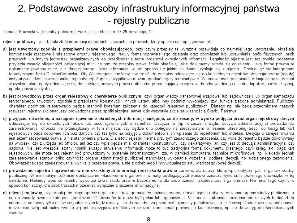 8 Tomasz Stawecki w Rejestry publiczne. Funkcje instytucji, s. 28-29 przyjmuje, że: rejestr publiczny - jest to taki zbiór informacji o osobach, rzecz