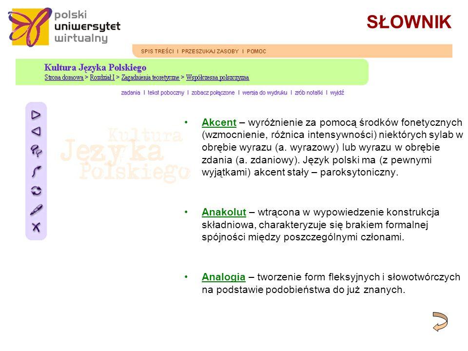 SŁOWNIK Akcent – wyróżnienie za pomocą środków fonetycznych (wzmocnienie, różnica intensywności) niektórych sylab w obrębie wyrazu (a.