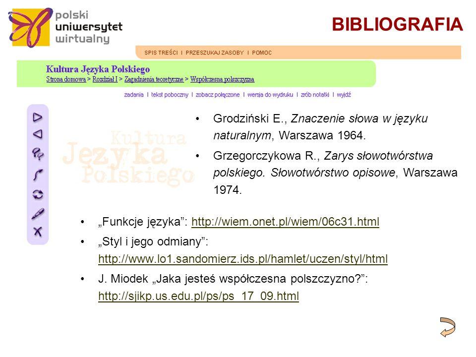 BIBLIOGRAFIA Funkcje języka: http://wiem.onet.pl/wiem/06c31.htmlhttp://wiem.onet.pl/wiem/06c31.html Styl i jego odmiany: http://www.lo1.sandomierz.ids.pl/hamlet/uczen/styl/html http://www.lo1.sandomierz.ids.pl/hamlet/uczen/styl/html J.