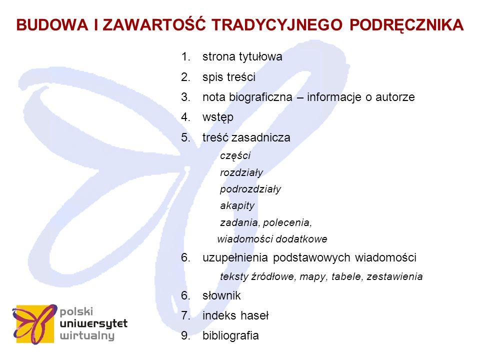 BUDOWA I ZAWARTOŚĆ TRADYCYJNEGO PODRĘCZNIKA 1. strona tytułowa 2.