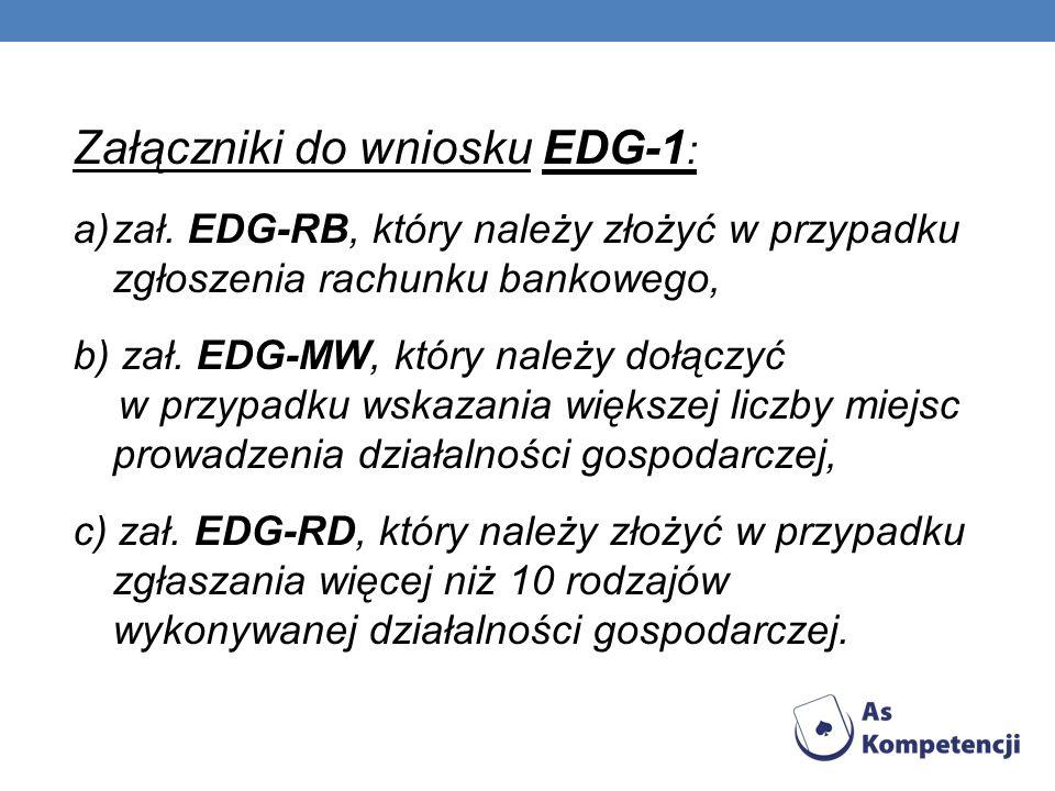 Załączniki do wniosku EDG-1 : a)zał. EDG-RB, który należy złożyć w przypadku zgłoszenia rachunku bankowego, b) zał. EDG-MW, który należy dołączyć w pr
