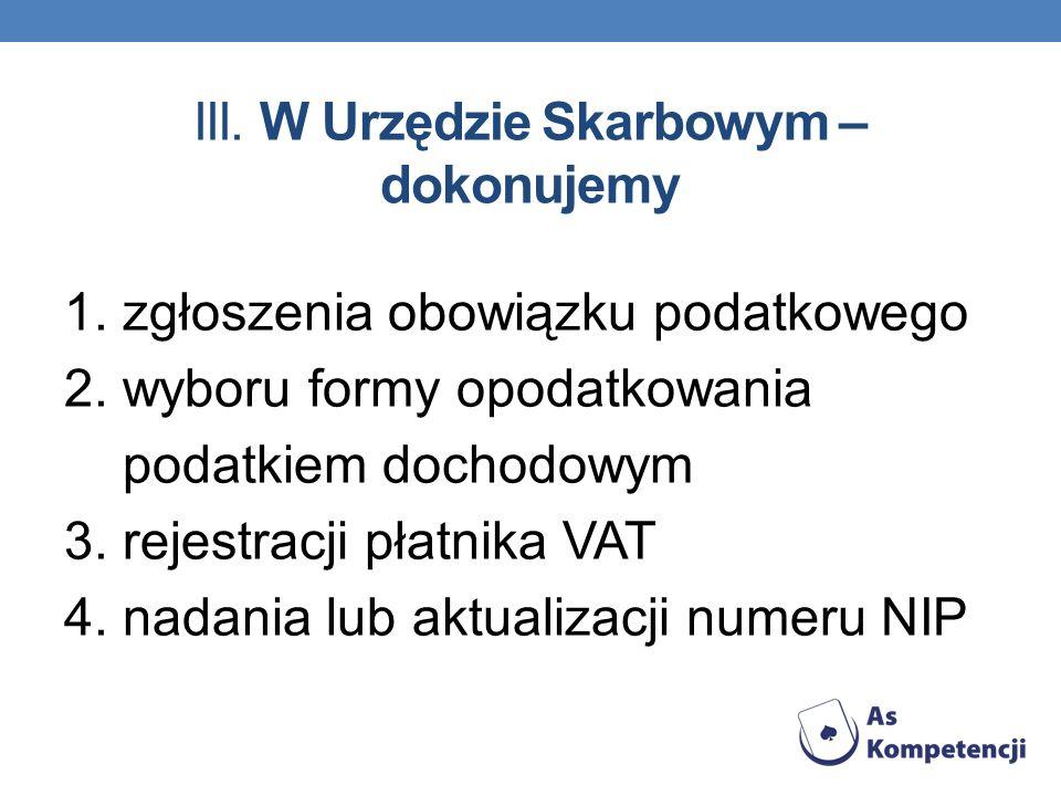 III. W Urzędzie Skarbowym – dokonujemy 1. zgłoszenia obowiązku podatkowego 2. wyboru formy opodatkowania podatkiem dochodowym 3. rejestracji płatnika