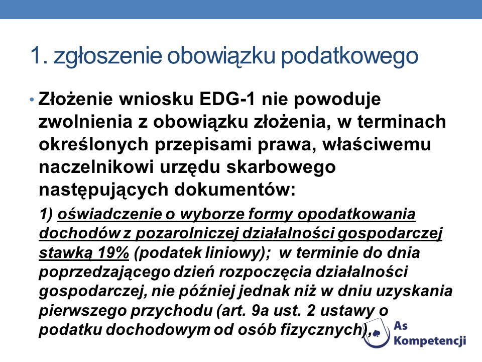 1. zgłoszenie obowiązku podatkowego Złożenie wniosku EDG-1 nie powoduje zwolnienia z obowiązku złożenia, w terminach określonych przepisami prawa, wła