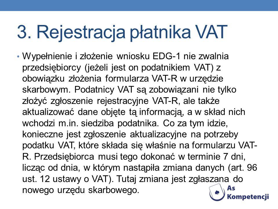 3. Rejestracja płatnika VAT Wypełnienie i złożenie wniosku EDG-1 nie zwalnia przedsiębiorcy (jeżeli jest on podatnikiem VAT) z obowiązku złożenia form