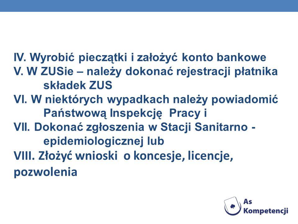 IV. Wyrobić pieczątki i założyć konto bankowe V. W ZUSie – należy dokonać rejestracji płatnika składek ZUS VI. W niektórych wypadkach należy powiadomi