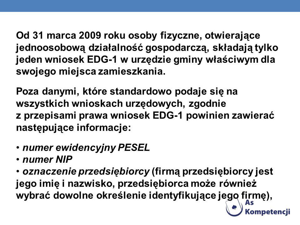 datę rozpoczęcia działalności gospodarczej (może być to dzień złożenia wniosku lub też późniejsza data), określenie przedmiotu wykonywanej działalności gospodarczej według Polskiej Klasyfikacji Działalności (PKD), przedmiot działalności określa się wpisując w odpowiednie rubryki 5-znakowe symbole według PKD 2007, miejsce zamieszkania i adres przedsiębiorcy (w przypadku stałego wykonywania działalności poza miejscem zamieszkania, należy także wskazać miejsce stałego wykonywania działalności), dane kontaktowe: numer telefonu i adres e- mail przedsiębiorcy