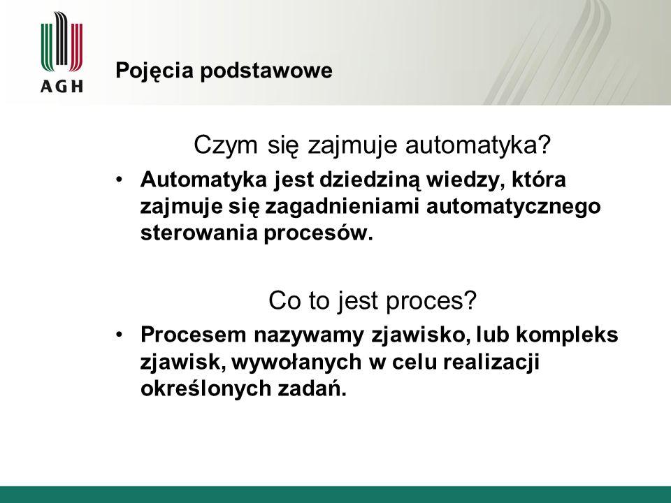 Pojęcia podstawowe Czym się zajmuje automatyka? Automatyka jest dziedziną wiedzy, która zajmuje się zagadnieniami automatycznego sterowania procesów.