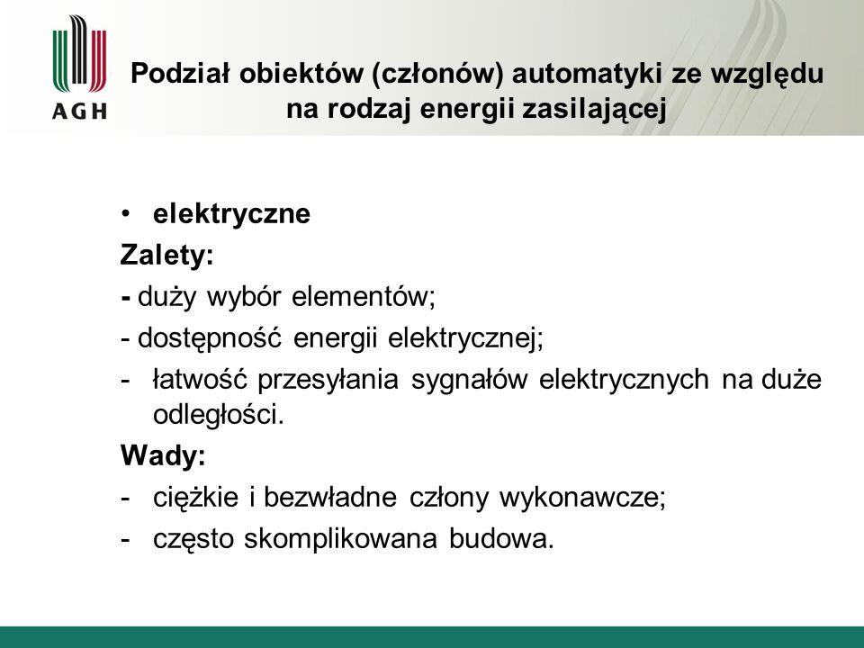 Podział obiektów (członów) automatyki ze względu na rodzaj energii zasilającej elektryczne Zalety: - duży wybór elementów; - dostępność energii elektr