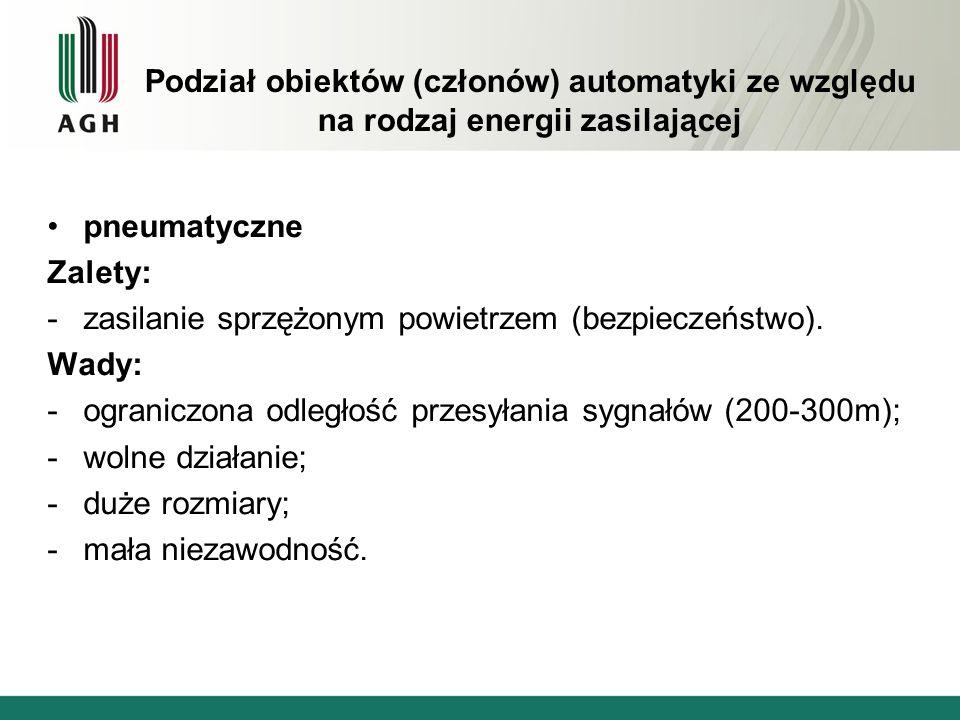 Podział obiektów (członów) automatyki ze względu na rodzaj energii zasilającej pneumatyczne Zalety: -zasilanie sprzężonym powietrzem (bezpieczeństwo).