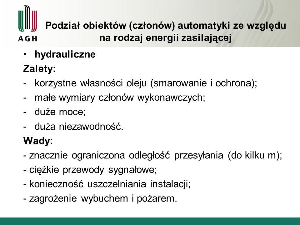 Podział obiektów (członów) automatyki ze względu na rodzaj energii zasilającej hydrauliczne Zalety: -korzystne własności oleju (smarowanie i ochrona);