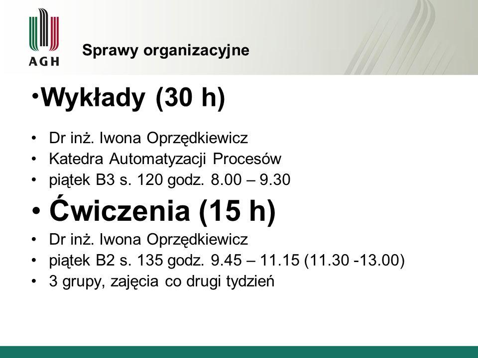 Sprawy organizacyjne Dr inż. Iwona Oprzędkiewicz Katedra Automatyzacji Procesów piątek B3 s. 120 godz. 8.00 – 9.30 Ćwiczenia (15 h) Dr inż. Iwona Oprz