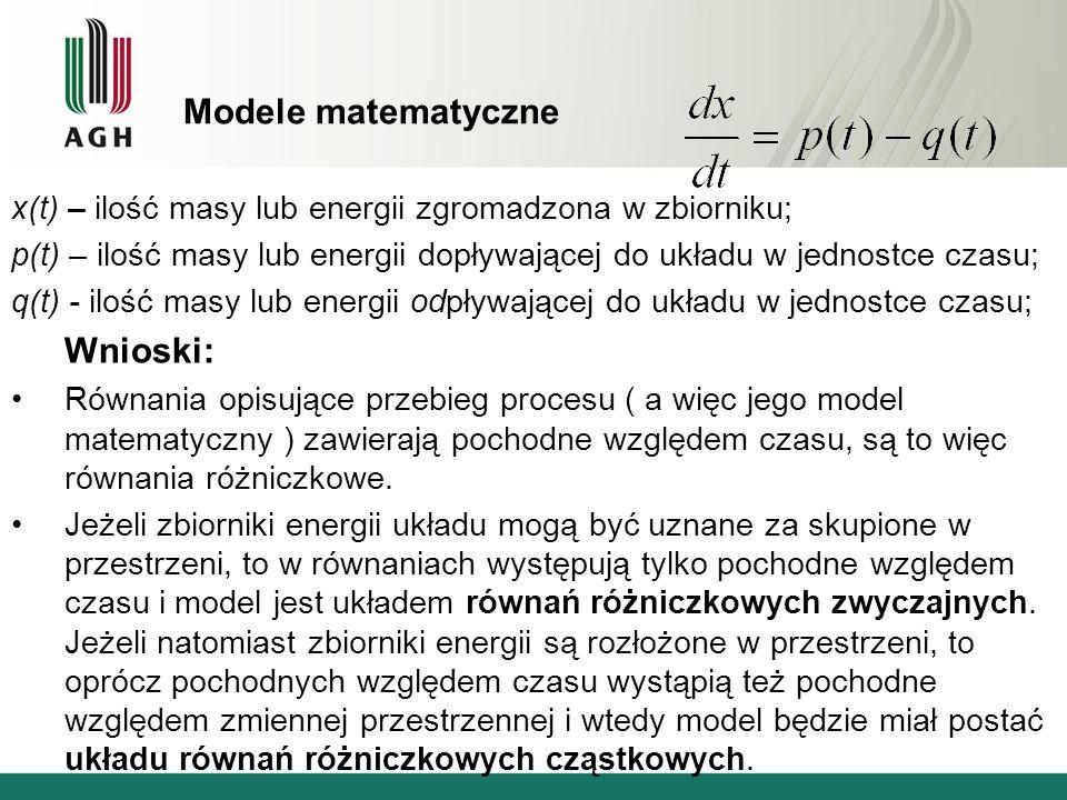 Modele matematyczne x(t) – ilość masy lub energii zgromadzona w zbiorniku; p(t) – ilość masy lub energii dopływającej do układu w jednostce czasu; q(t