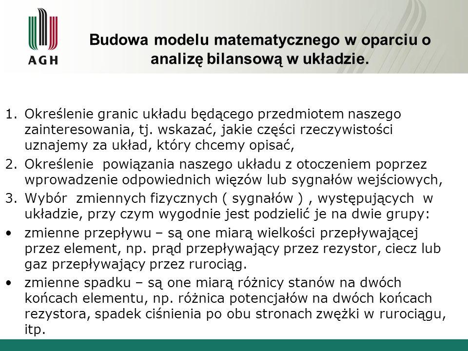 Budowa modelu matematycznego w oparciu o analizę bilansową w układzie. 1.Określenie granic układu będącego przedmiotem naszego zainteresowania, tj. ws