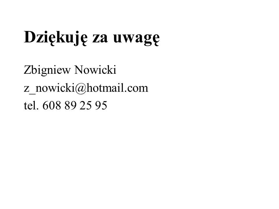 Dziękuję za uwagę Zbigniew Nowicki z_nowicki@hotmail.com tel. 608 89 25 95