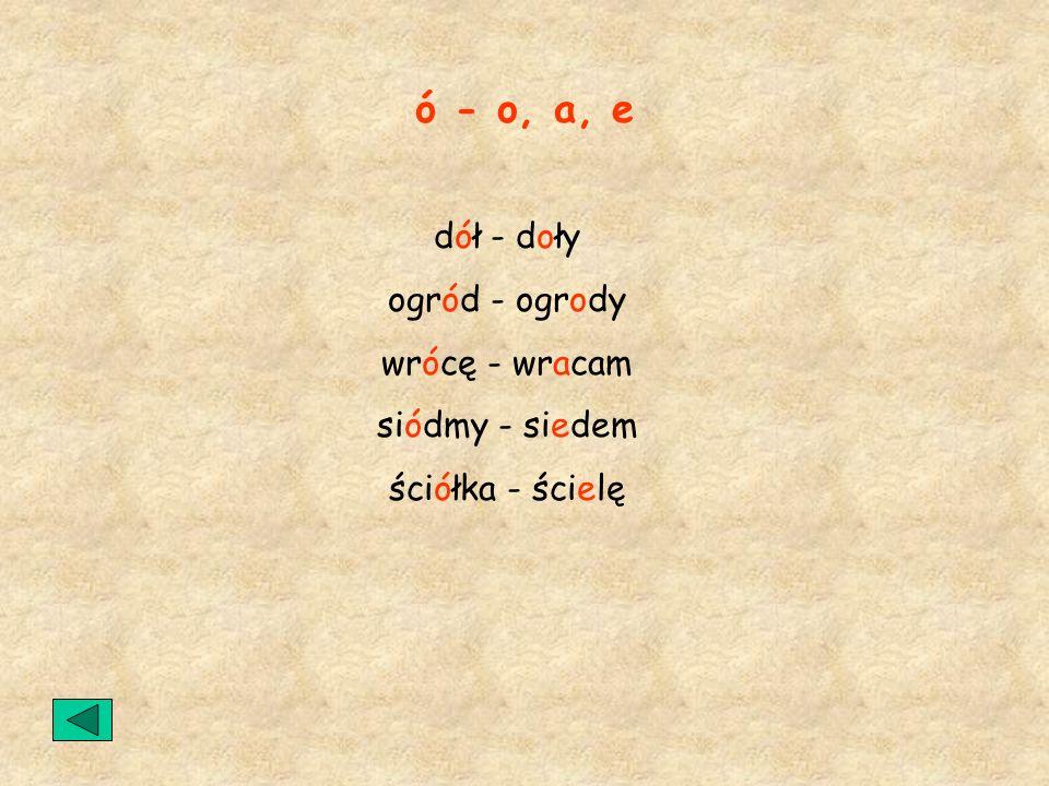 Zasady pisowni wyrazów z ó: pisz ó, gdy w wyrazach pokrewnych wymienia się na -o, a, e, pisz ó w końcówkach -ów, -ówka, -ówna, wiele wyrazów musisz wk