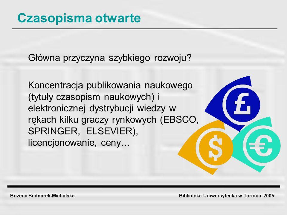 Bożena Bednarek-Michalska Biblioteka Uniwersytecka w Toruniu, 2005 Czasopisma otwarte Główna przyczyna szybkiego rozwoju? Koncentracja publikowania na