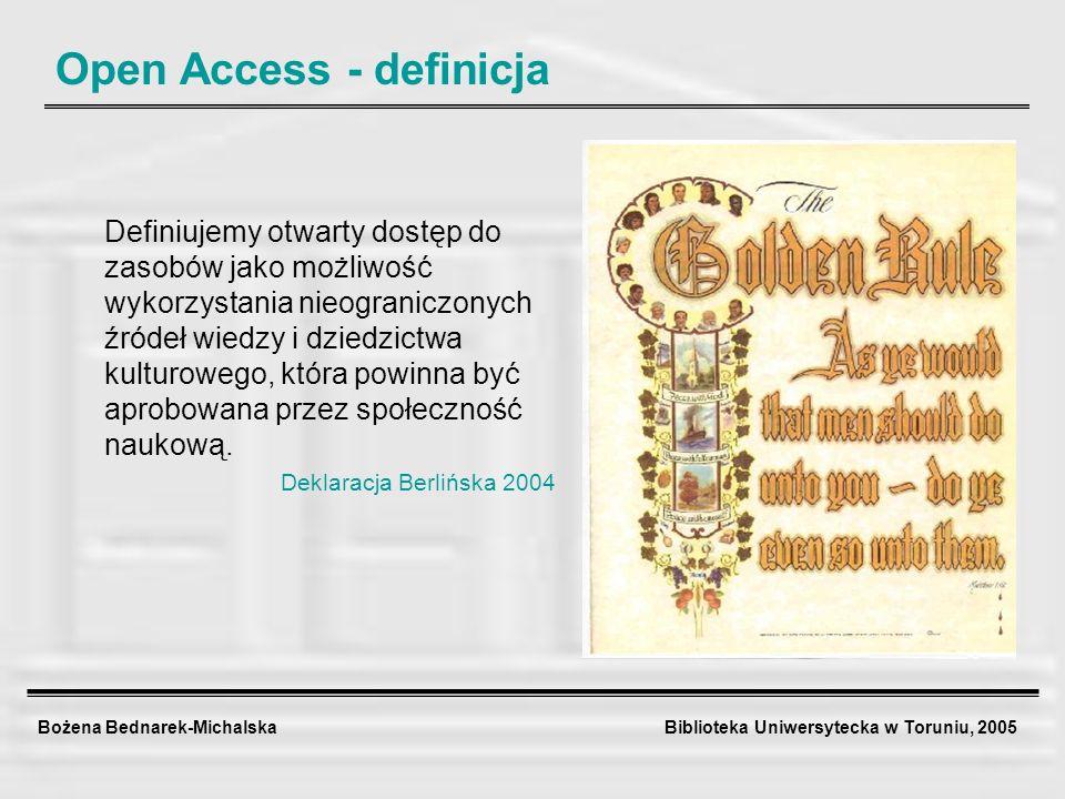 Bożena Bednarek-Michalska Biblioteka Uniwersytecka w Toruniu, 2005 Open Access Historia otwartego dostępu do wiedzy (Paul Suber) Tradycja Open Access wywodzi się z budowania pierwszych na świecie baz danych i otwartych archiwów elektronicznych dokumentów, tzw.