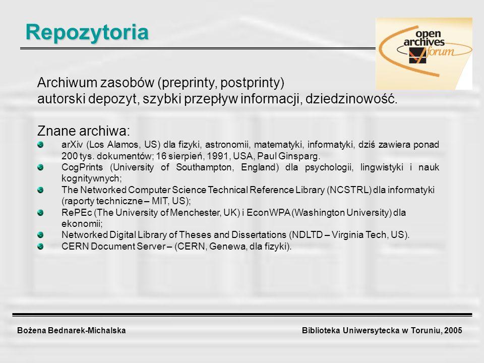 Bożena Bednarek-Michalska Biblioteka Uniwersytecka w Toruniu, 2005 Repozytoria Archiwum zasobów (preprinty, postprinty) autorski depozyt, szybki przep