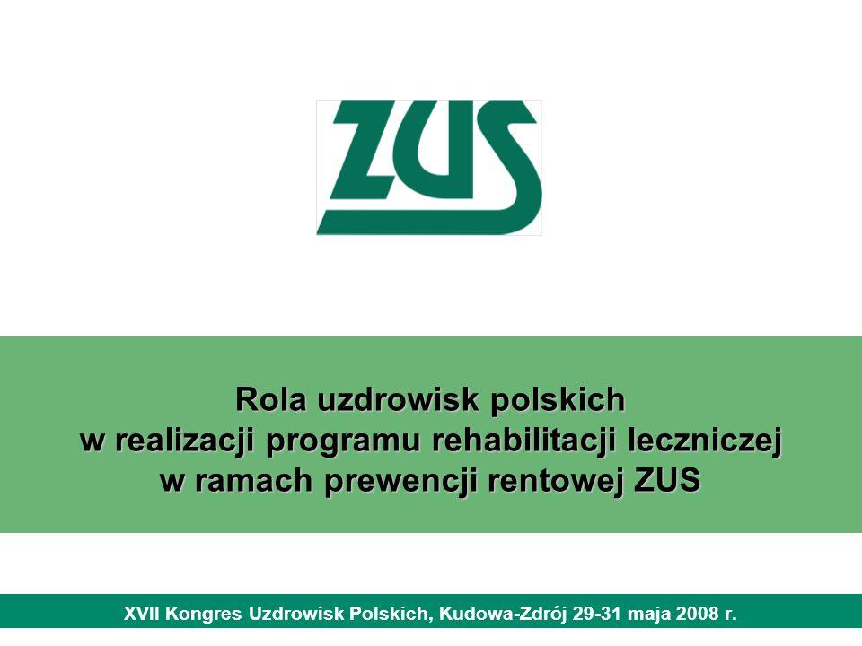 Rola uzdrowisk polskich w realizacji programu rehabilitacji leczniczej w ramach prewencji rentowej ZUS XVII Kongres Uzdrowisk Polskich, Kudowa-Zdrój 2