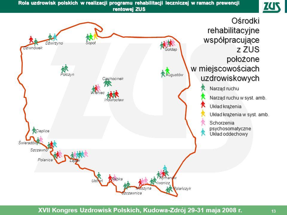 13 Rola uzdrowisk polskich w realizacji programu rehabilitacji leczniczej w ramach prewencji rentowej ZUS XVII Kongres Uzdrowisk Polskich, Kudowa-Zdró