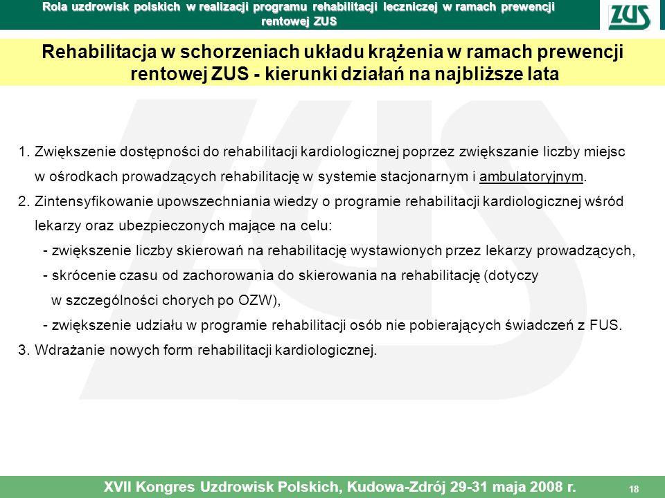 18 Rola uzdrowisk polskich w realizacji programu rehabilitacji leczniczej w ramach prewencji rentowej ZUS Rehabilitacja w schorzeniach układu krążenia