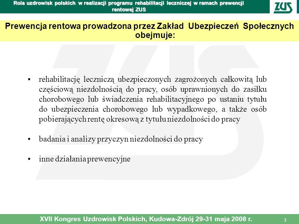 3 Rola uzdrowisk polskich w realizacji programu rehabilitacji leczniczej w ramach prewencji rentowej ZUS Prewencja rentowa prowadzona przez Zakład Ube