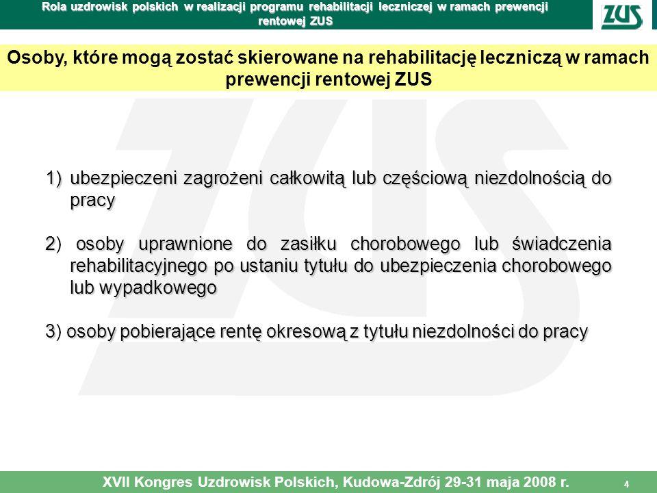 4 Rola uzdrowisk polskich w realizacji programu rehabilitacji leczniczej w ramach prewencji rentowej ZUS 1)ubezpieczeni zagrożeni całkowitą lub części