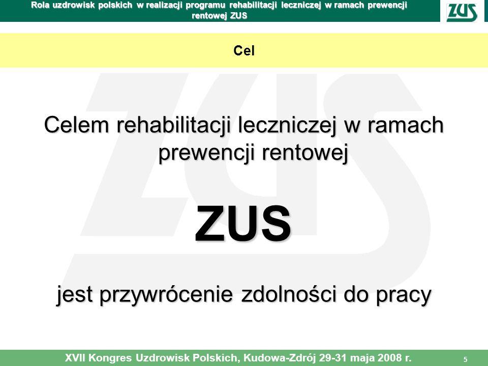 5 Rola uzdrowisk polskich w realizacji programu rehabilitacji leczniczej w ramach prewencji rentowej ZUS Cel Celem rehabilitacji leczniczej w ramach p