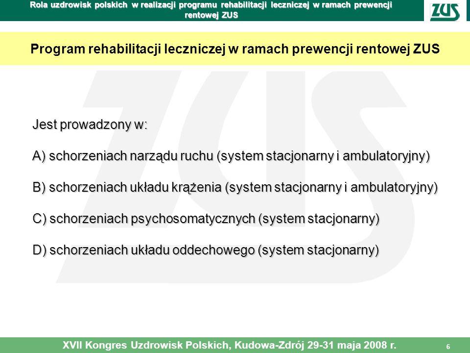 6 Rola uzdrowisk polskich w realizacji programu rehabilitacji leczniczej w ramach prewencji rentowej ZUS Program rehabilitacji leczniczej w ramach pre