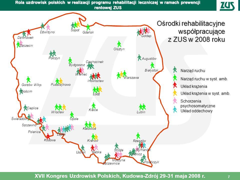 7 Rola uzdrowisk polskich w realizacji programu rehabilitacji leczniczej w ramach prewencji rentowej ZUS XVII Kongres Uzdrowisk Polskich, Kudowa-Zdrój