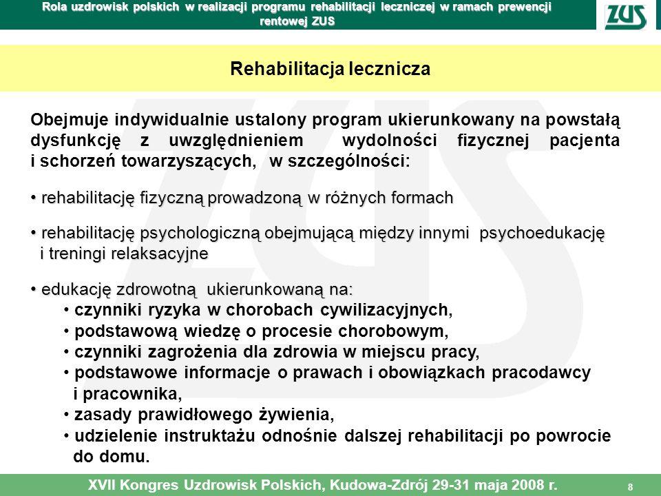8 Rola uzdrowisk polskich w realizacji programu rehabilitacji leczniczej w ramach prewencji rentowej ZUS Rehabilitacja lecznicza Obejmuje indywidualni