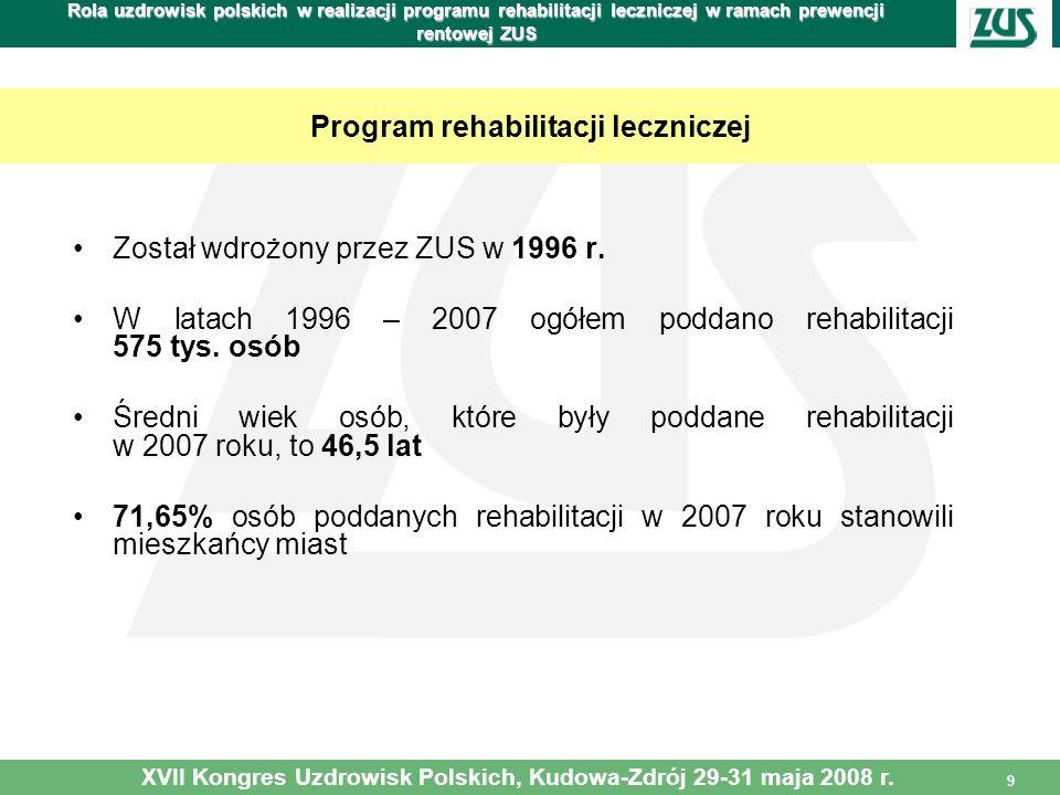 9 Rola uzdrowisk polskich w realizacji programu rehabilitacji leczniczej w ramach prewencji rentowej ZUS Został wdrożony przez ZUS w 1996 r. W latach