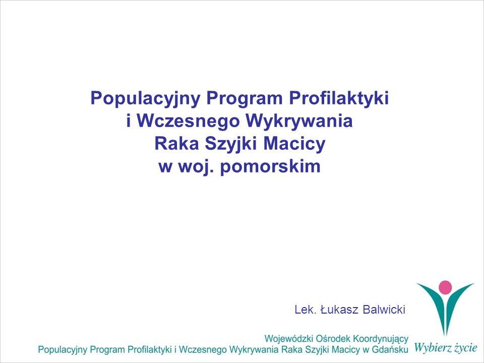 OBJĘCIE POPULACJI PROGRAMEM PROFILAKTYKI RAKA SZYJKI MACICY w % Polska z podziałem na województwa (dane z 01.02.2008) DOLNOŚLĄSKIE13,72 KUJAWSKO-POMORSKIE15,42 LUBELSKIE17,92 LUBUSKIE11,48 ŁÓDZKIE16,85 MAŁOPOLSKIE10,9 MAZOWIECKIE11,48 OPOLSKIE19,57 PODKARPACKIE8,12 PODLASKIE17,44 POMORSKIE22,47 ŚLĄSKIE12,8 ŚWIĘTOKRZYSKIE11,22 WARMIŃSKO-MAZURSKIE24,87 WIELKOPOLSKIE6,61 ZACHODNIOPOMORSKIE24,3 RAZEM14,18