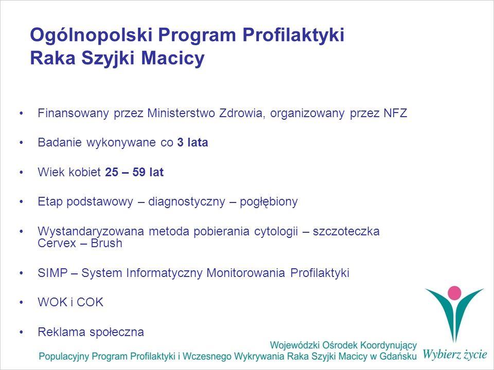 Ogólnopolski Program Profilaktyki Raka Szyjki Macicy Finansowany przez Ministerstwo Zdrowia, organizowany przez NFZ Badanie wykonywane co 3 lata Wiek
