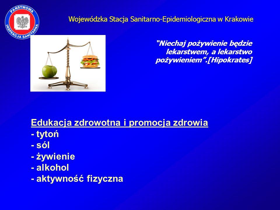 Edukacja zdrowotna i promocja zdrowia - tytoń - sól - żywienie - alkohol - aktywność fizyczna Niechaj pożywienie będzie lekarstwem, a lekarstwo pożywi