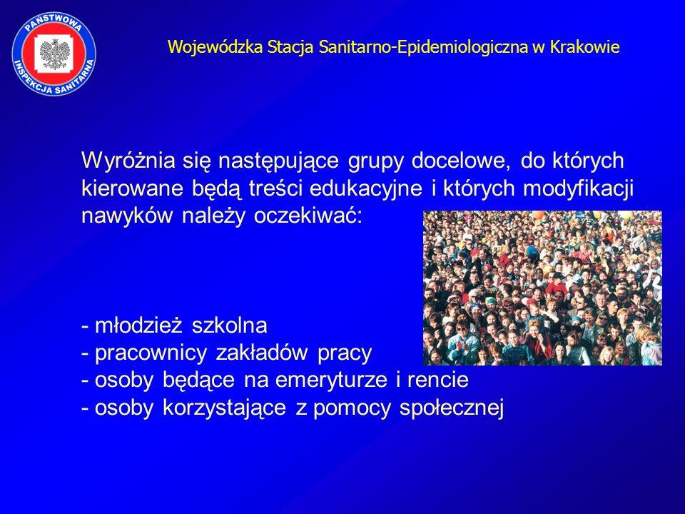 Wojewódzka Stacja Sanitarno-Epidemiologiczna w Krakowie Wyróżnia się następujące grupy docelowe, do których kierowane będą treści edukacyjne i których