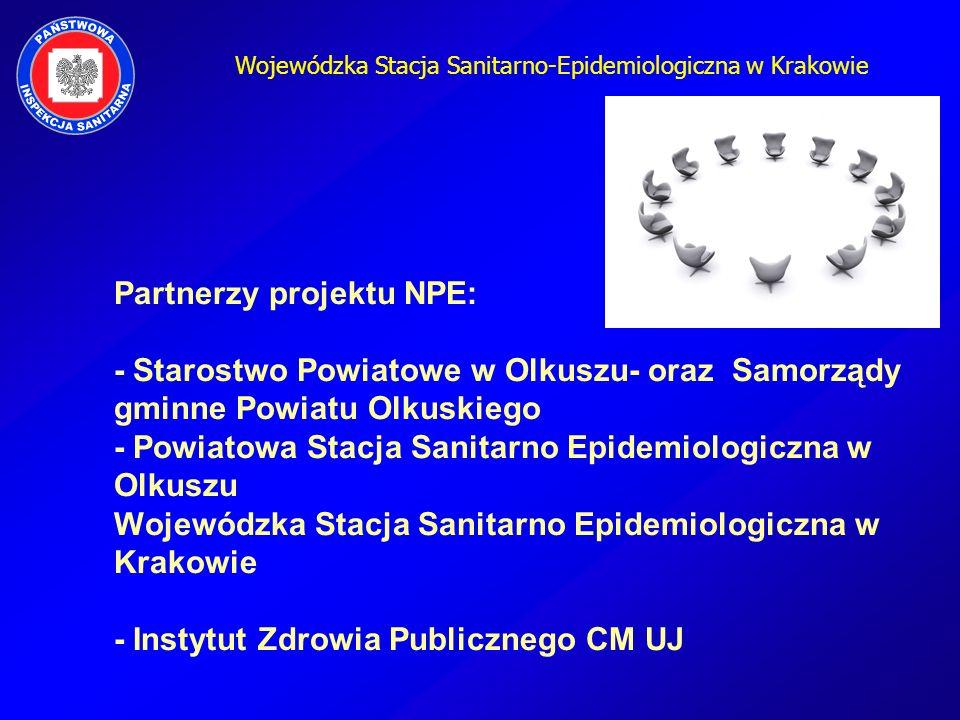 Wojewódzka Stacja Sanitarno-Epidemiologiczna w Krakowie Partnerzy projektu NPE: - Starostwo Powiatowe w Olkuszu- oraz Samorządy gminne Powiatu Olkuski