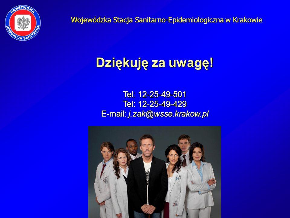 Wojewódzka Stacja Sanitarno-Epidemiologiczna w Krakowie Dziękuję za uwagę! Tel: 12-25-49-501 Tel: 12-25-49-429 E-mail: j.zak@wsse.krakow.pl