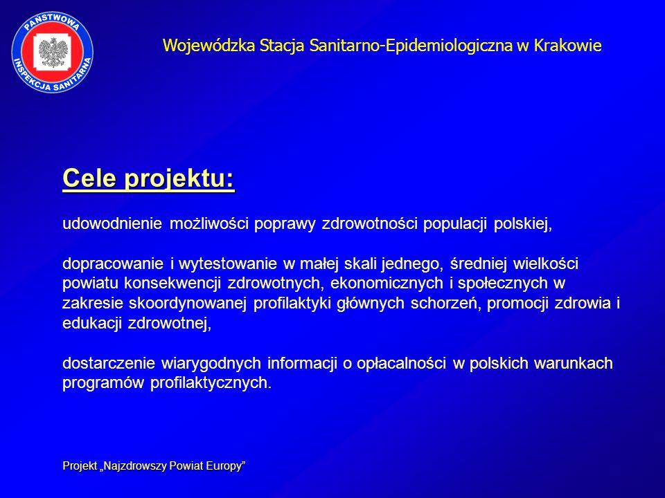Wojewódzka Stacja Sanitarno-Epidemiologiczna w Krakowie Cele projektu: Cele projektu: udowodnienie możliwości poprawy zdrowotności populacji polskiej,