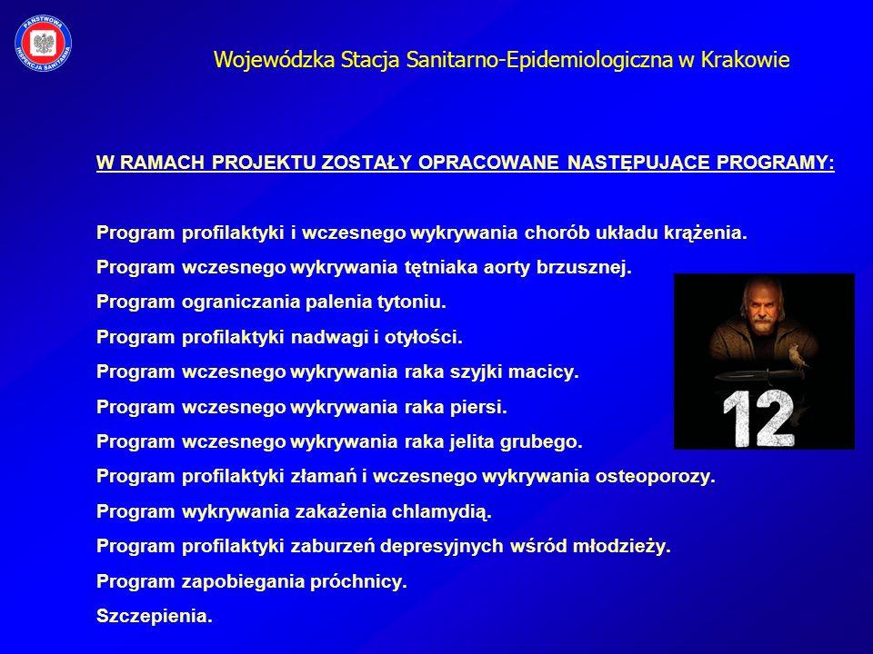 Wojewódzka Stacja Sanitarno-Epidemiologiczna w Krakowie W RAMACH PROJEKTU ZOSTAŁY OPRACOWANE NASTĘPUJĄCE PROGRAMY: Program profilaktyki i wczesnego wy