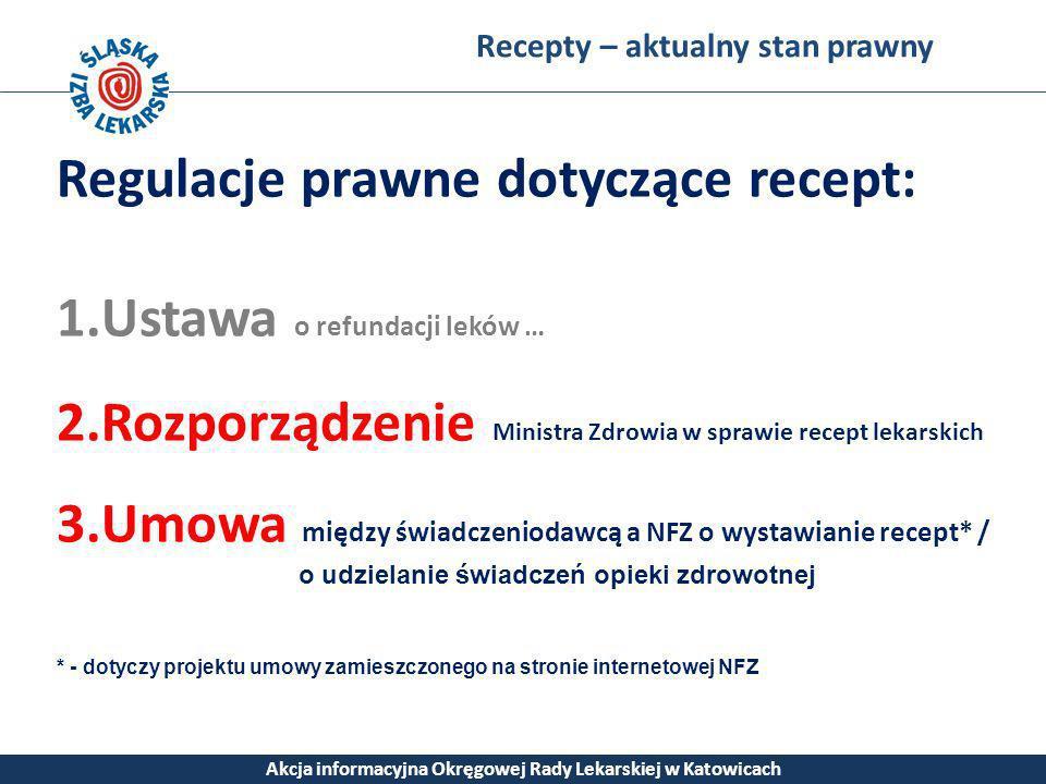 Recepty – aktualny stan prawny Akcja informacyjna Okręgowej Rady Lekarskiej w Katowicach Regulacje prawne dotyczące recept: 1.Ustawa o refundacji lekó