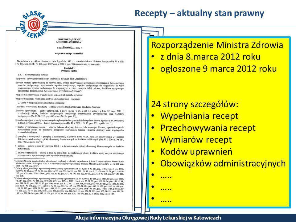 Recepty – aktualny stan prawny Akcja informacyjna Okręgowej Rady Lekarskiej w Katowicach Rozporządzenie Ministra Zdrowia z dnia 8.marca 2012 roku ogło