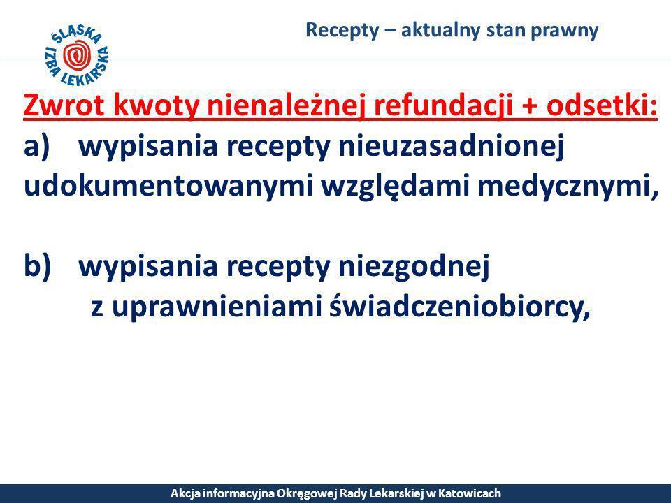 Recepty – aktualny stan prawny Akcja informacyjna Okręgowej Rady Lekarskiej w Katowicach Zwrot kwoty nienależnej refundacji + odsetki: a)wypisania rec