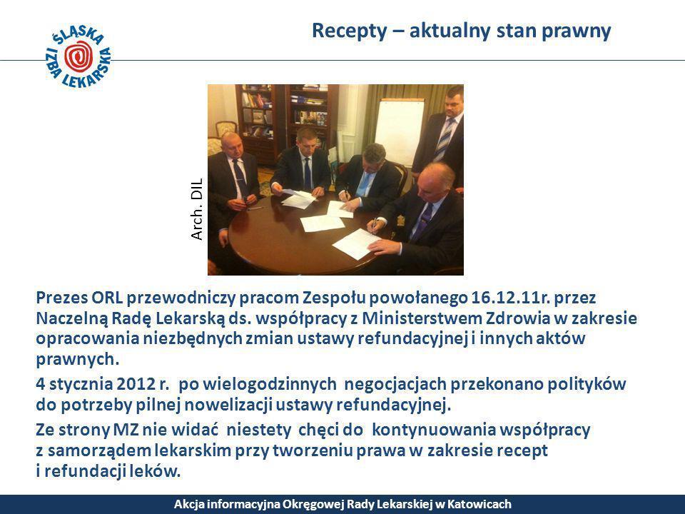 Recepty – aktualny stan prawny Akcja informacyjna Okręgowej Rady Lekarskiej w Katowicach Prezes ORL przewodniczy pracom Zespołu powołanego 16.12.11r.