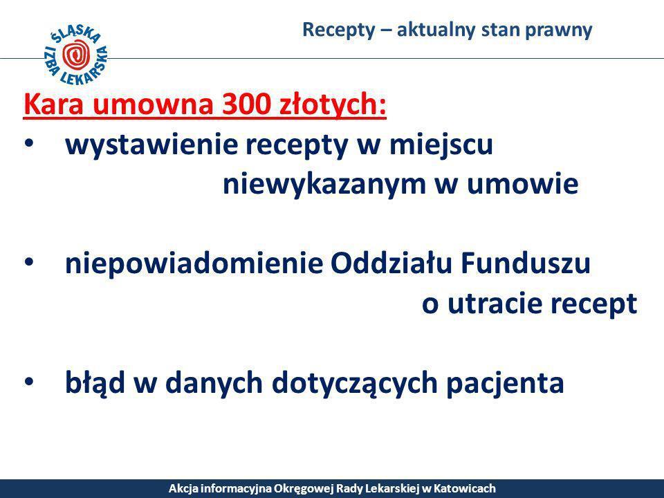 Recepty – aktualny stan prawny Akcja informacyjna Okręgowej Rady Lekarskiej w Katowicach Kara umowna 300 złotych: wystawienie recepty w miejscu niewyk