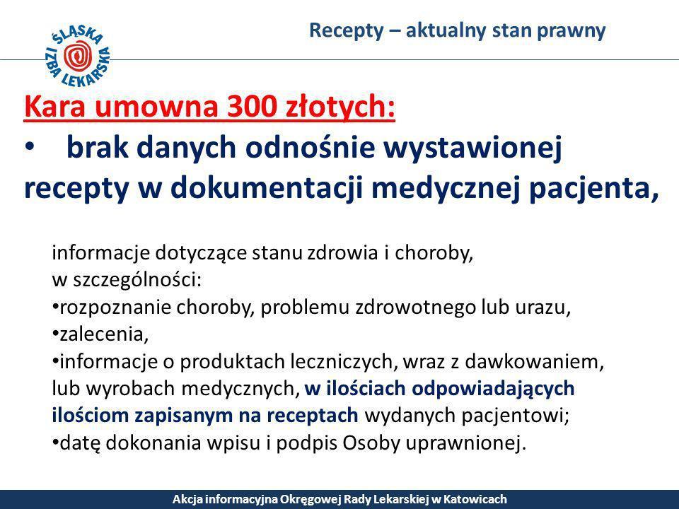 Recepty – aktualny stan prawny Akcja informacyjna Okręgowej Rady Lekarskiej w Katowicach Kara umowna 300 złotych: brak danych odnośnie wystawionej rec