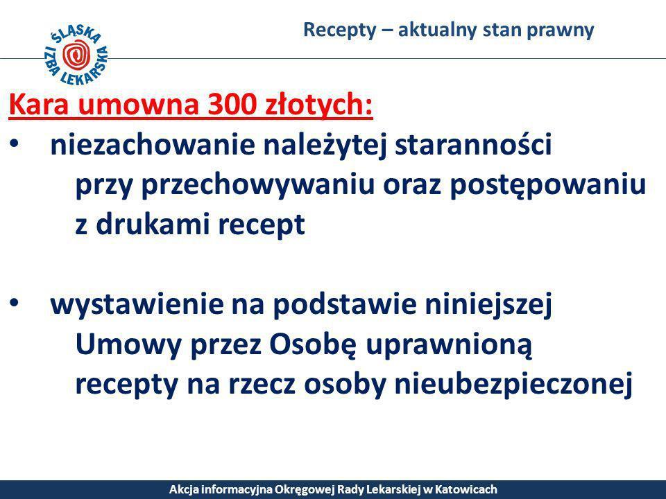 Recepty – aktualny stan prawny Akcja informacyjna Okręgowej Rady Lekarskiej w Katowicach Kara umowna 300 złotych: niezachowanie należytej staranności